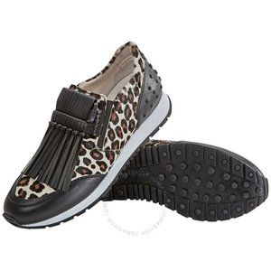 TOD'S Knotted Fringed Sneakers Black Leopard Print